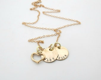 Personalized Necklace - Gold Heart Necklace - Childs Name - Mothers Necklace - Personalized Jewelry - Engrave Necklace - Name Necklace