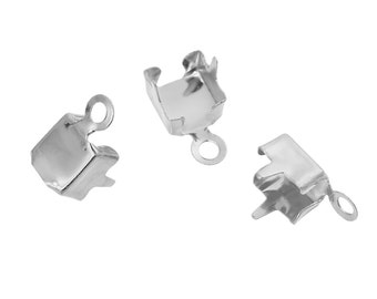 20 Silver Plated Rhinestone Cup Chain End Caps, fits 6mm chain, fin0640