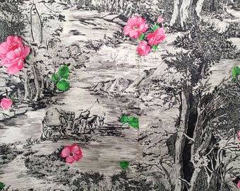 Vintage 60s Rose Print Fabric, Novelty Print Fabric, Vintage Cotton Fabric, Pink Roses Fabric, 60s Floral Fabric, 1960s Fabric, 6+YD