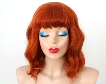 Ginger orange wig. Short Beach wavy hairstyle wig. Red orange wig. Durable heat friendly wig for everyday wear or Cosplay