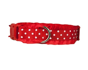 "Ruffle Dog Collar 5/8"", 3/4"", 1"" or 1.5"" Red & White Polka Dot Dog Collar"