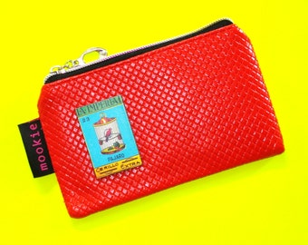 Imperial Birdcage Bold Red Vintage Matchbook Cover Blue Zippered Pouch Coin Purse Cosmetics Bag