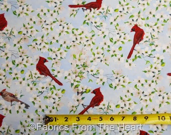 Birds of a Feather Red Cardinals Cherry Blossoms BY YARDS Blank Cotton Fabric