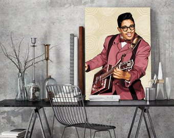 Tribute to Bo Diddley - FRAMED ART, personalized gift, name, City, Date, pop art, Wall Art, gift for women, gift for men, Parents