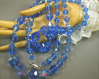 Sapphire Blue Crystal Glass Double Strand Necklace
