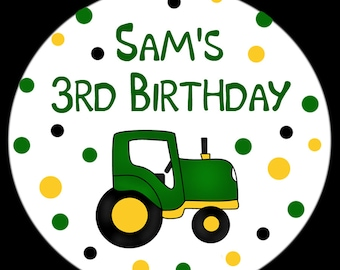 "Personalized Round Tractor Birthday Stickers  - Tractor Party - Farm Party - Available in FOUR sizes  - 2.5"", 2"", 1.5"" or 1"" - Your choice"