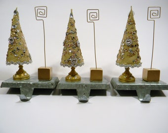 SET Gold Trees w/Sequins Stocking Holder