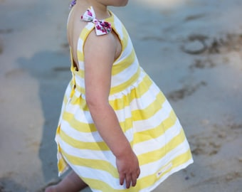 Sunshine Dress - summer dress - toddler dress - girls dress - holiday dress - yellow dress - yellow and white dress - lottie clothing