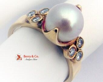 Vintage Pearl Ring Diamonds 18 K Gold