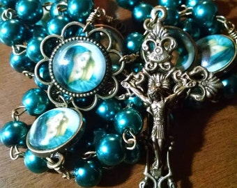 Our Lady of Sorrows Bronze 5 Decade Rosary with Teal Pearl Beads Handmade Catholic Rosary