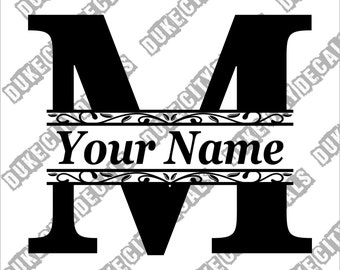Letter M Initial Monogram Family Name Vinyl Decal Sticker - Personalized Floral Name Decal