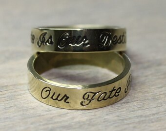 "Ring US 8 ""Our fate is our destiny"" stamped on brass, boho, minimalist , rocker, modern style, Stamped Brass, inspirational - Free shipping"