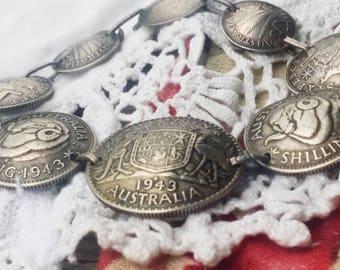 Unique Sterling Silver Australia 1940s Coin Bracelet  - Unique Find - Vintage