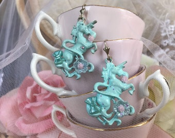 Pastel blue Unicorn earrings