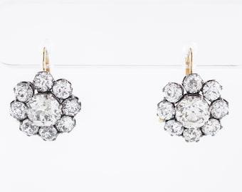 Dangle Drop Earrings Modern 6.66 Old European Cut Diamonds in 18K Yellow Gold & Sterling Silver