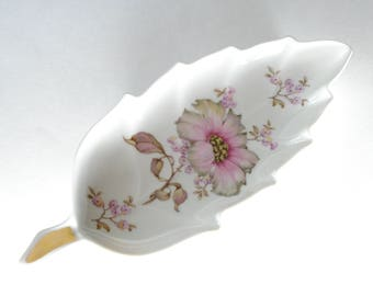 Vintage Leaf Trinket Dish, Candy Tray, Mitterteich Bavria Germany, Pink Dogwood Flower Dish