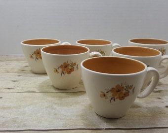 Set of 6 vintage  tea cups 1960s-1970s, orange, floral