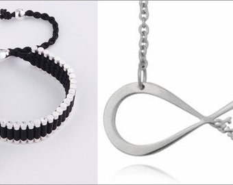 One Direction Black Silver link Friendship Bracelet  and Silver Infinity Directioner Necklace Fast Shipping from USA