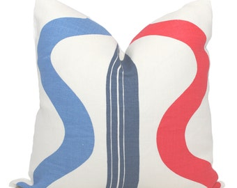 Tete-A-Tete Vertical Pillow Cover, Quadrille Navy, Red, French Blue Square or Lumbar pillow, Accent Pillow, Throw Pillow, Toss
