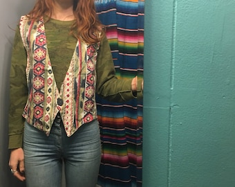 "Vintage 90s unisex ""Stampede"" denim southwestern vest // size small // made in USA"