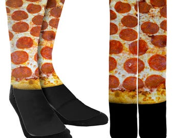 Pepperoni Pizza Crew Socks - Pepperoni Pizza Socks - Clothing - Novelty Socks - Crazy Socks - Cool Socks - 100% Comfort-FREE Shipping B36