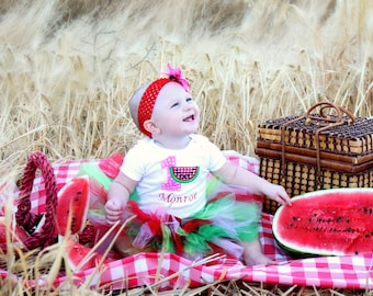 Watermelon 1st Birthday Tutu Outfit, Picnic 1st Birthday Outfit