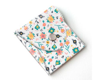 Vinyl Coin Purse - Spring Flowers / coin, wallet, vegan wallet, change, small, little, pocket wallet, gift, flowers, floral, notion case