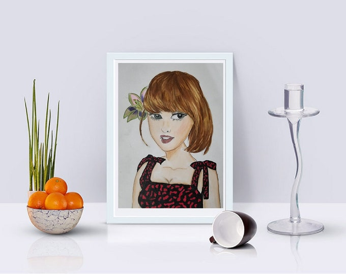 Paper Print Fashion Illustration print, illustration print, prints, fashion sketch, color fashion prints, sexy woman print