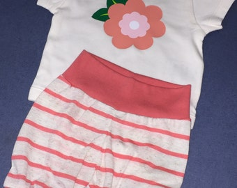 Baby Girl Set Bodysuit Cuffed Leggings Spring flower coral pink preemie to 24 months