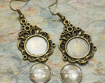 1 Set 14mm Antique Bronze Metal Round Earring Bezel Blank Base Earring Tray Kit.  Includes  Tray, Glass and Earring Wire