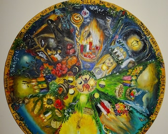 The Wheel of The Year,Pagans Wheel of the Year,Witches Wheel,Celebration of The Year,Oil painting Witches calendar,Round Canvas paint