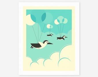 FLOCK OF PENGUINS (Giclée Fine Art Print/Photo Print/Poster Print)