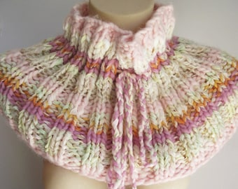 Cowl. knitted collar. designer knitwear. collar with pompoms. candy collar