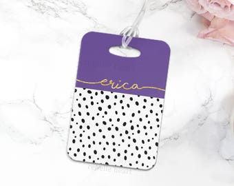 Luggage Tag, Custom Luggage Tag, Name Tag Diaper Bag, Kid's Luggage Tag, Gym Bag Tag, Travel Gift for Women, Ultra Violet Color of the Year