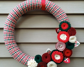 Christmas Wreath Wrapped in Fabric Decorated w/ Felt Flowers. Holiday Wreath - Christmas Wreath - Ribbon Wreath - Felt Wreath - Holly Wreath