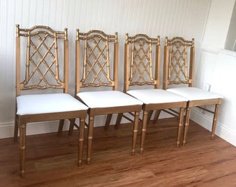 Asian Faux Bamboo Pagoda Chair Set, FREE SHIPPING, Chippendale Chairs,  Hollywood Regency Gold