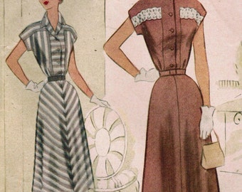 1950s McCall 8407 Vintage Sewing Pattern Misses Afternoon Dress, Shirtwaist Dress Size 14 Bust 32