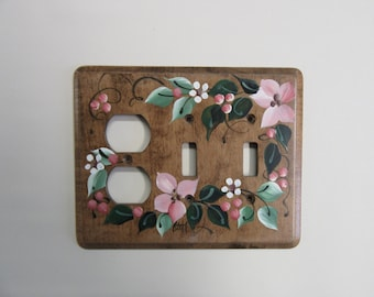 Outlet/Double Switch Combo  pink flowers  Wood Switch plate