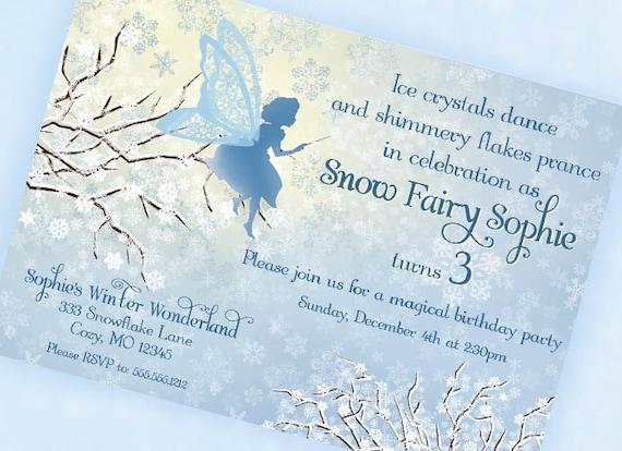 Snow fairy invitation winter wonderland invitation blue like this item pronofoot35fo Image collections
