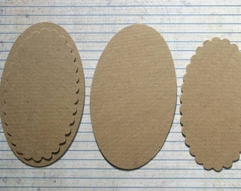 4 Bare chipboard die cuts Long Oval Diecuts 2 different styles