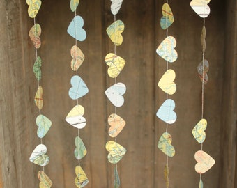 Wedding Decoration, Wedding Garland, Paper Garland, Travel Theme, Atlas Garland, Map Garland, Heart Garland, TINY Hearts - 10 feet long