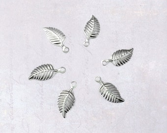 30 x Small Stainless Steel Thin Embossed Leaf Charms 14mm x 7mm