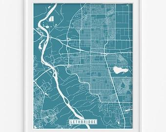 Lethbridge Print, Canada Poster, Lethbridge Poster, Lethbridge Map, Canada Print, Canada Map, Alberta, Street Map, Mothers Day