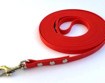 Training Lead 12mm wide 15 foot Long in Biothane® in RED