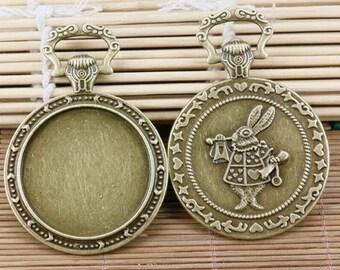 1pcs antiqued bronze round rabbit pattern cabochon settings EF2082