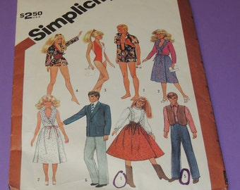 Uncut Simplicity 5807 Barbie and Ken Clothing Pattern 1982