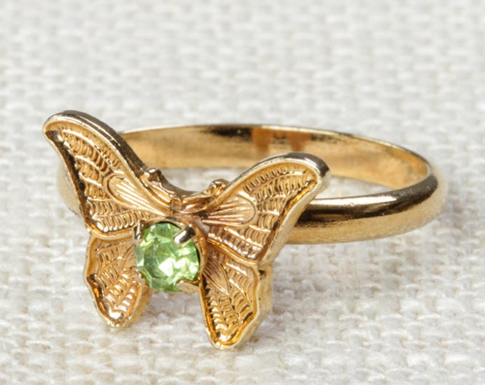 Vintage Butterfly Ring Light Green Rhinestone Small Adjustable XS or Child's Size Vintage Ring Gold Butterfly Adjustable 7RI