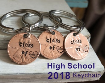 High school graduation gift, High school graduates college graduation gift class of 2018 2018 keychain 2018 graduates, 8th grade class gifts