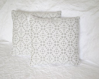 Grey and white pillow cover