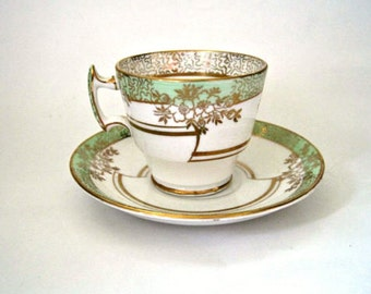 Vintage T. F. S. Thomas Forester and Sons Phoenix Mint Green Gold Demitasse Teacup & Saucer, Bone China, England, Cottage Chic